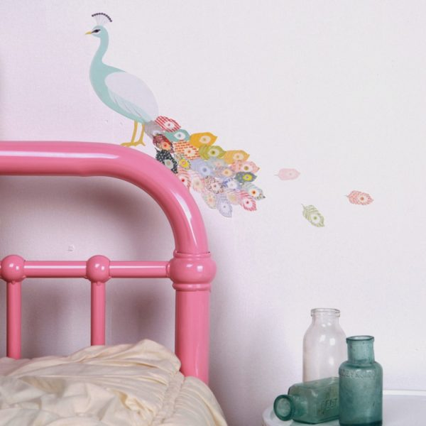 Mini vinilo decorativo infantil pavo real minimoi